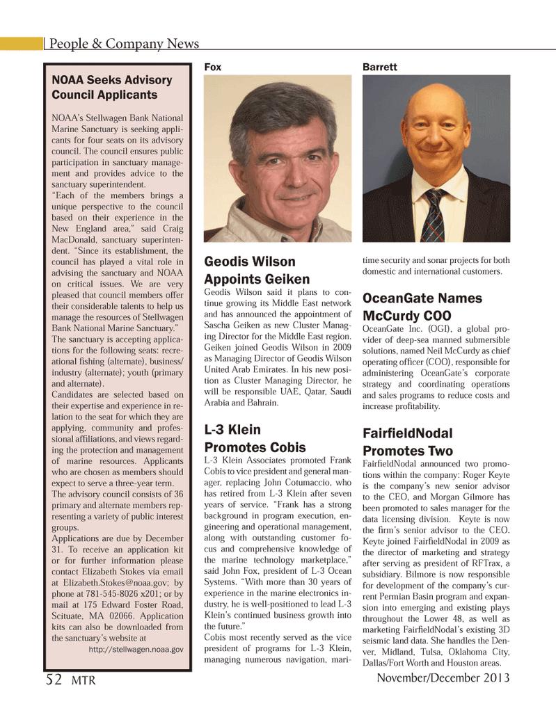 Marine Technology Magazine, page 52,  Nov 2013 Morgan Gilmore