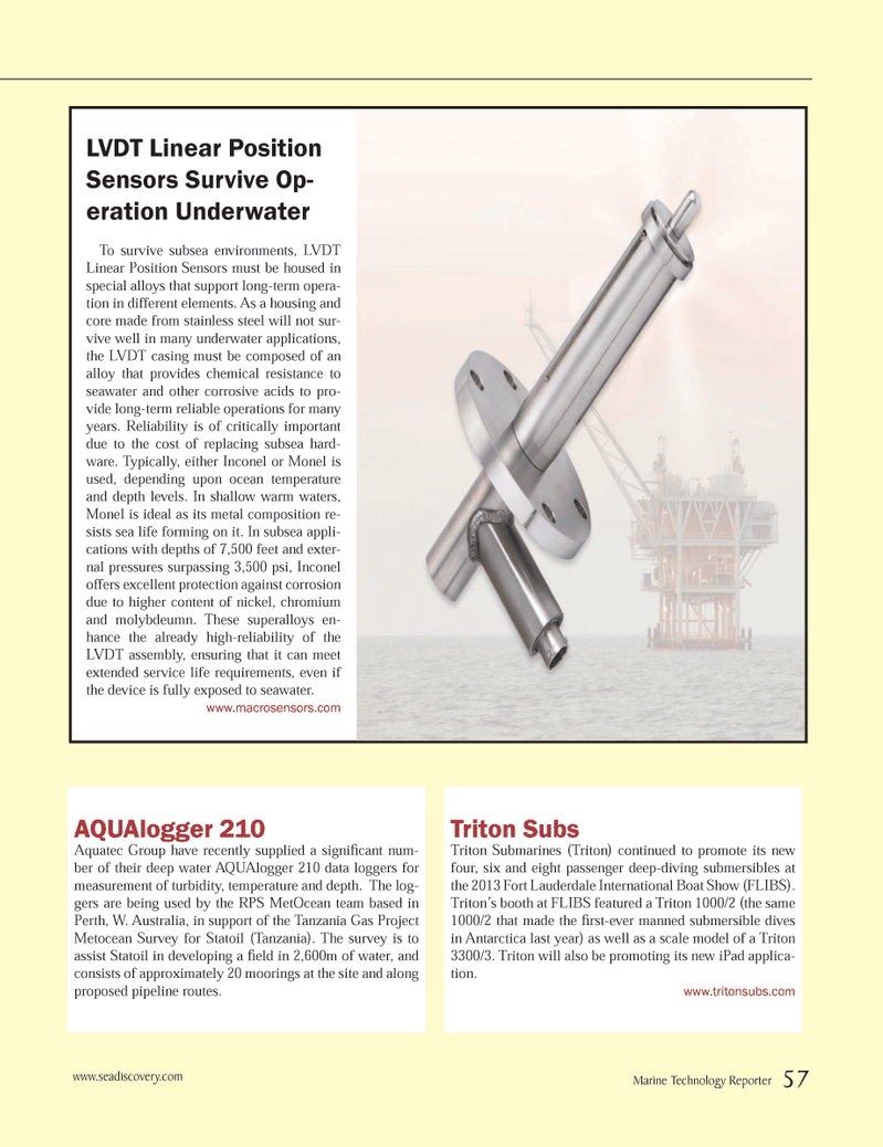Marine Technology Magazine, page 57,  Nov 2013 chemical resistance