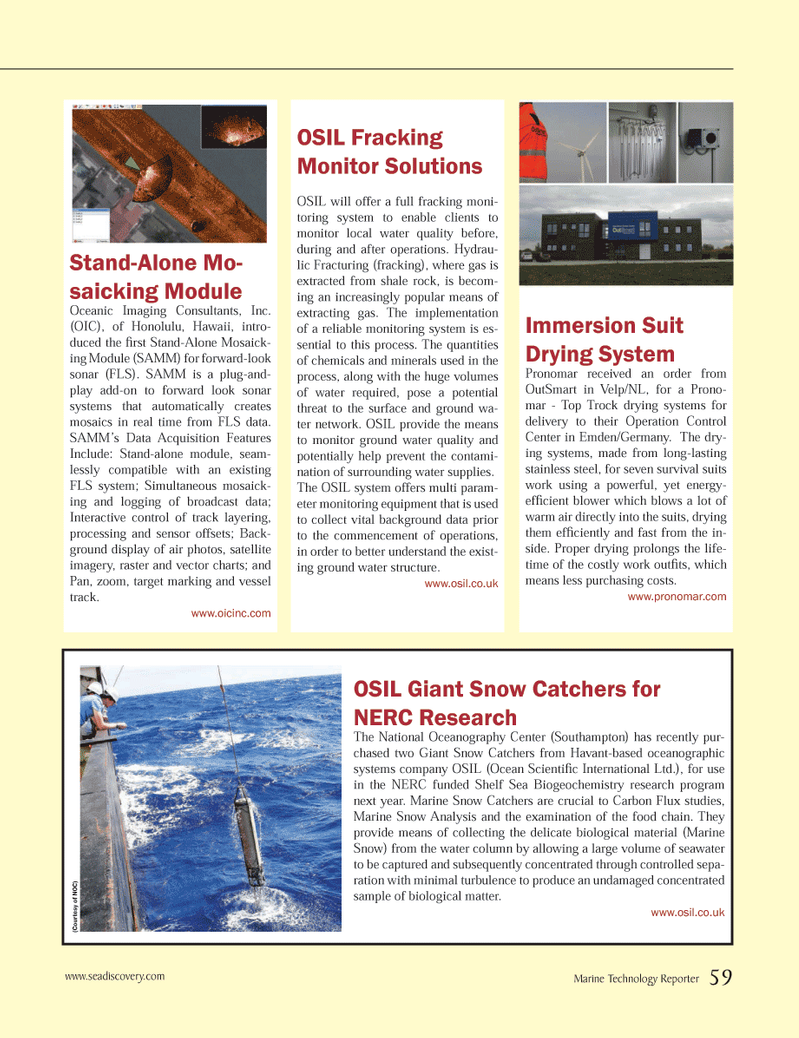 Marine Technology Magazine, page 59,  Nov 2013 Operation Control Center