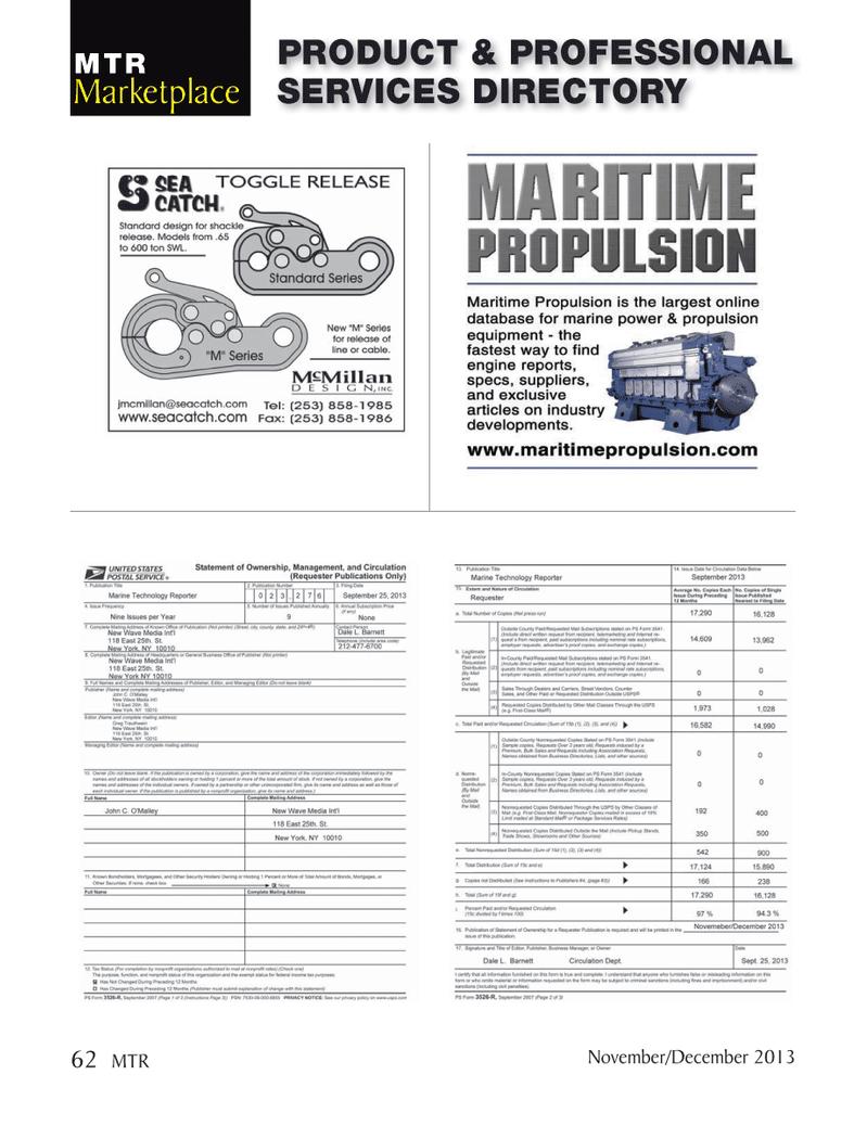 Marine Technology Magazine, page 62,  Nov 2013
