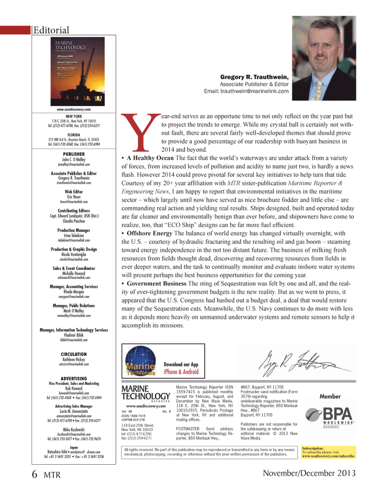 Marine Technology Magazine, page 6,  Nov 2013 Eric Haunhaun