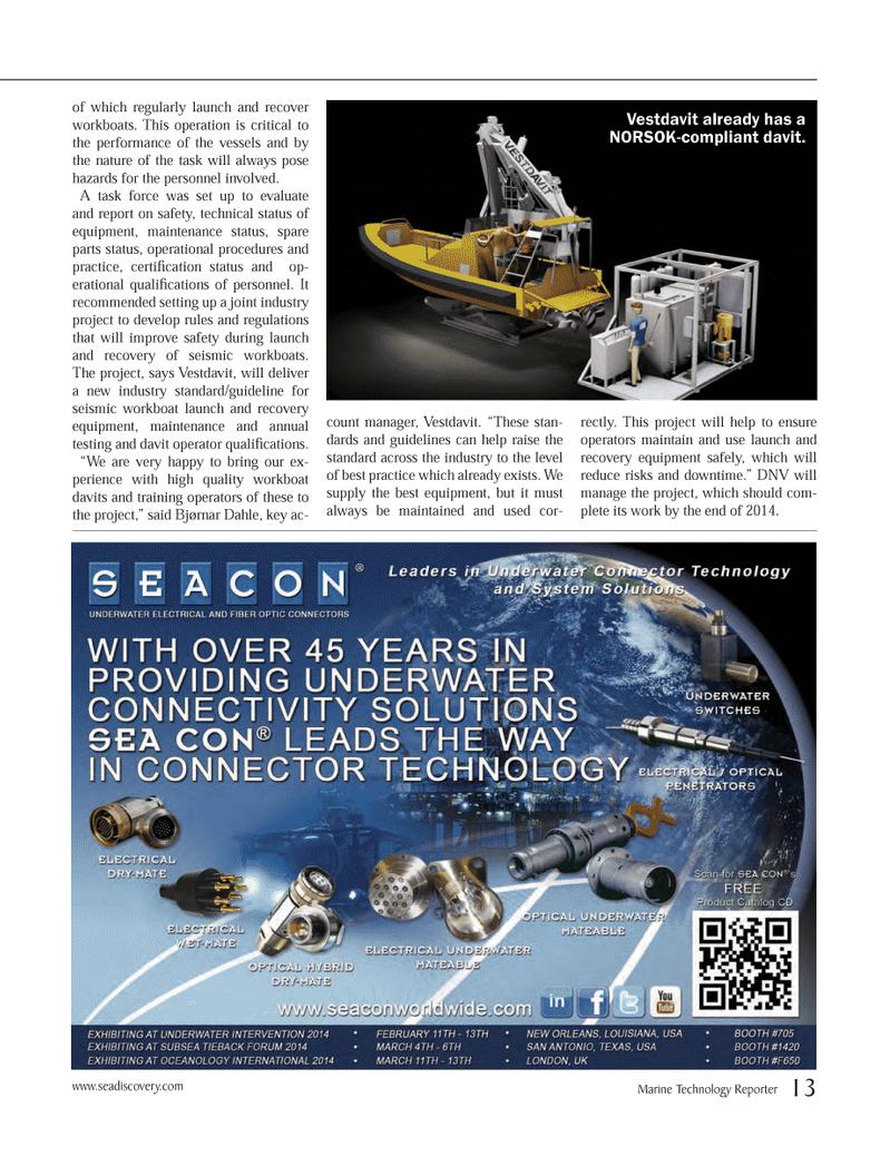 Marine Technology Magazine, page 13,  Jan 2014 Vestdavit