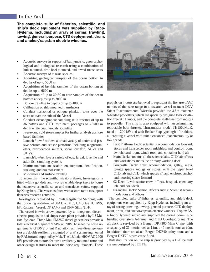 Marine Technology Magazine, page 16,  Jan 2014
