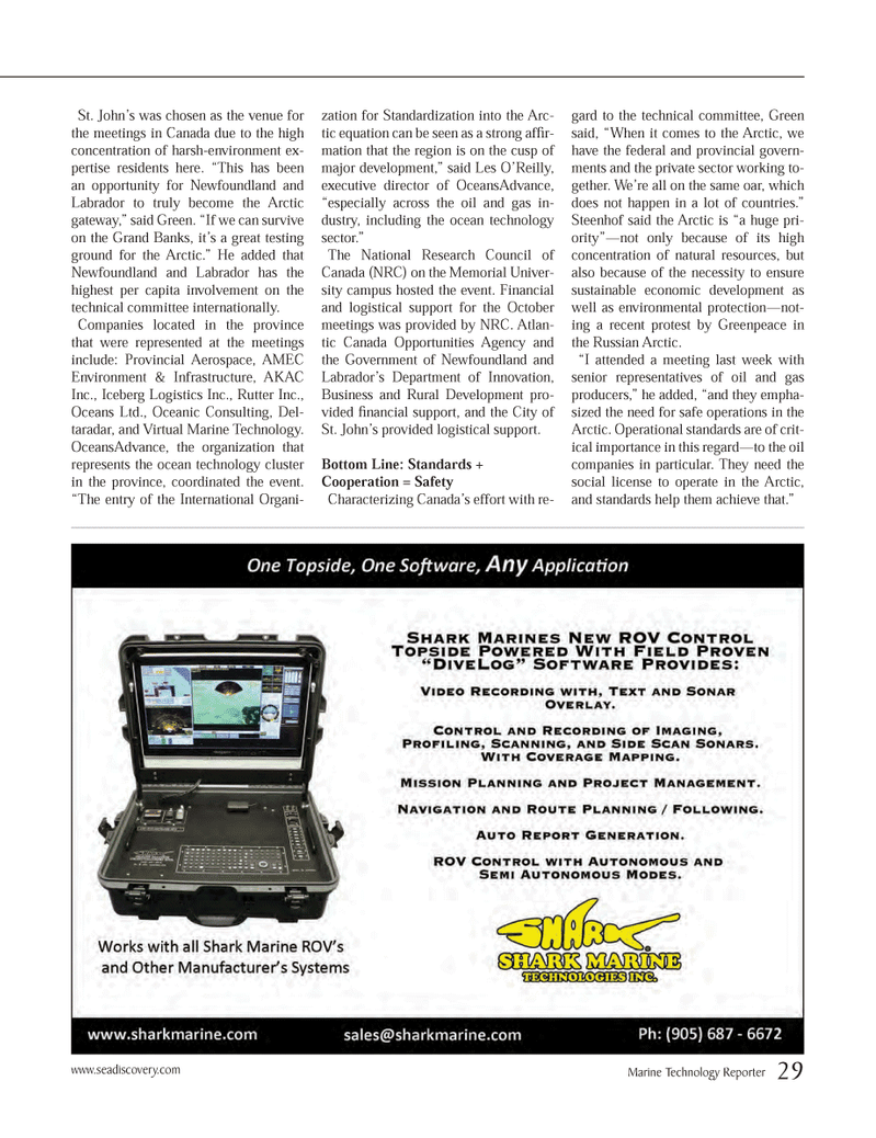 Marine Technology Magazine, page 29,  Jan 2014 Canada Opportunities Agency