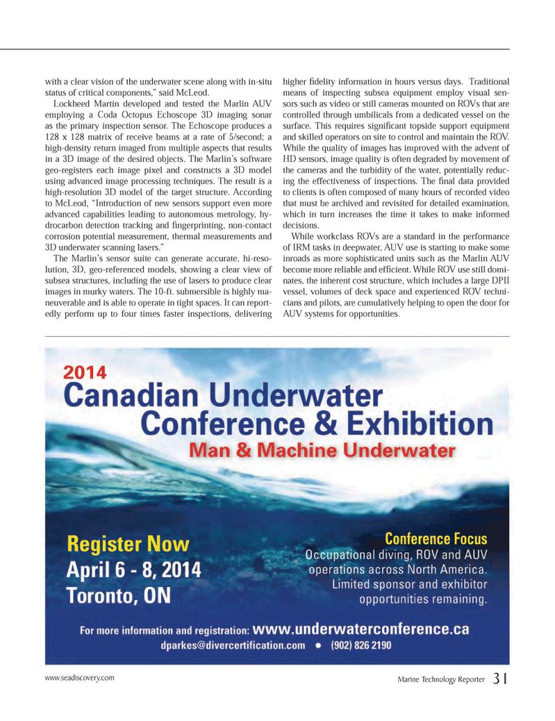 Marine Technology Magazine, page 31,  Jan 2014 3D imaging sonar