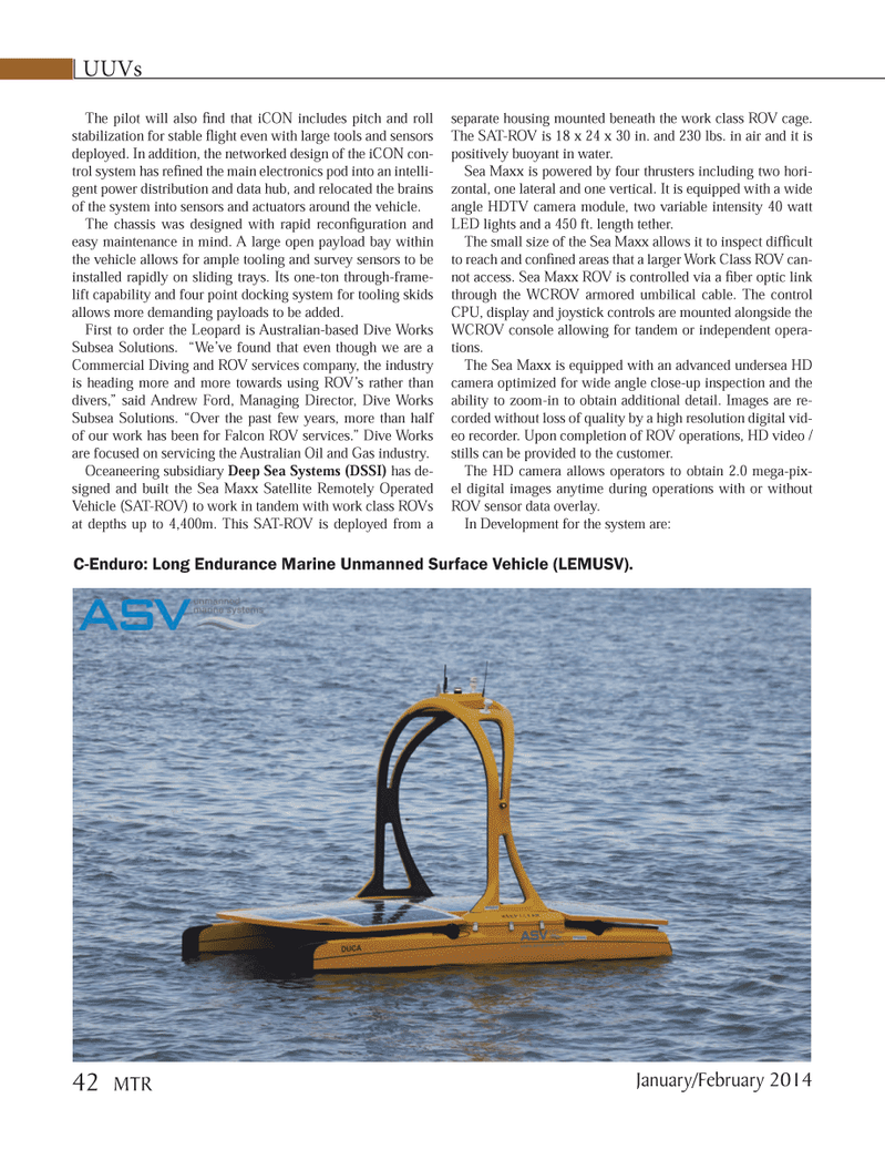 Marine Technology Magazine, page 42,  Jan 2014