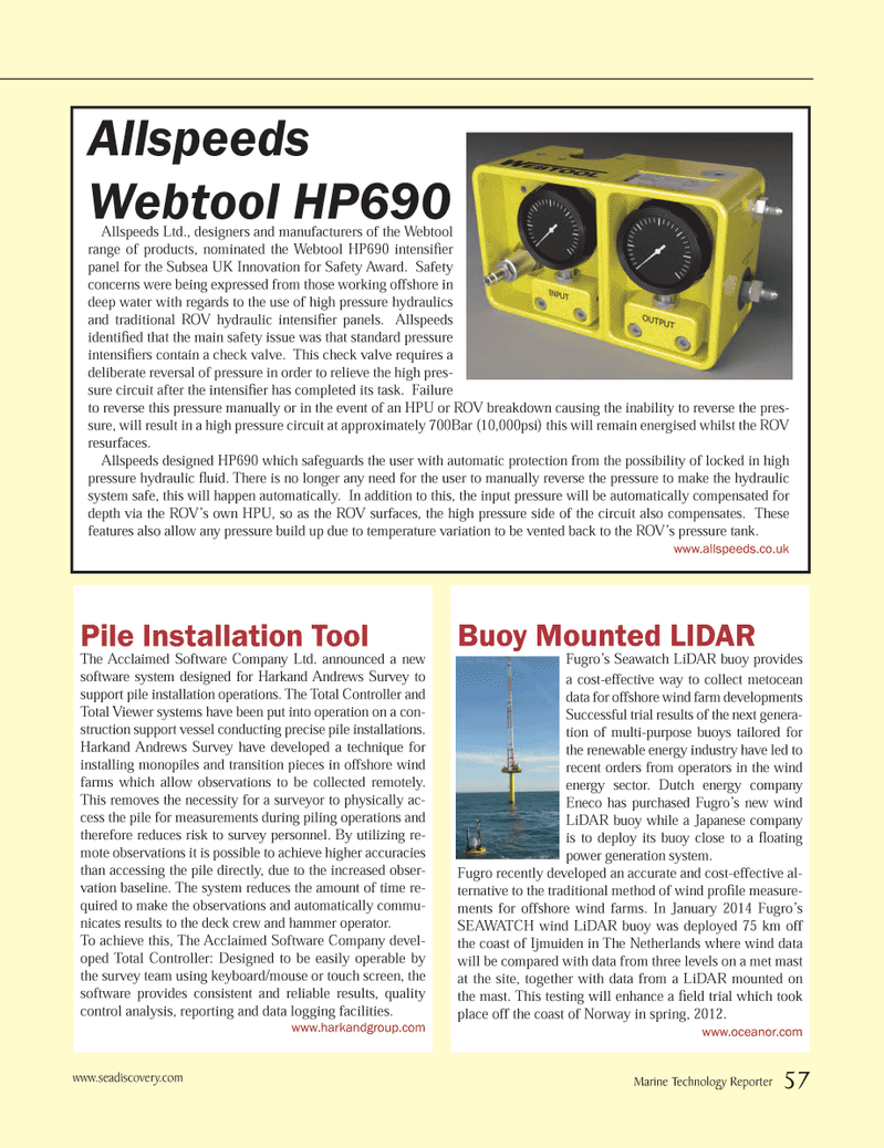Marine Technology Magazine, page 57,  Jan 2014 wind energy sector