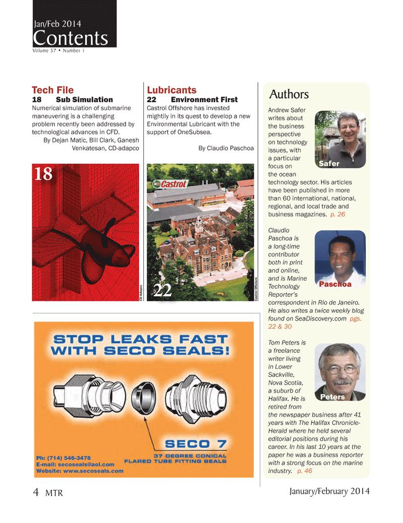 Marine Technology Magazine, page 4,  Jan 2014 Claudio PaschoaCastrol