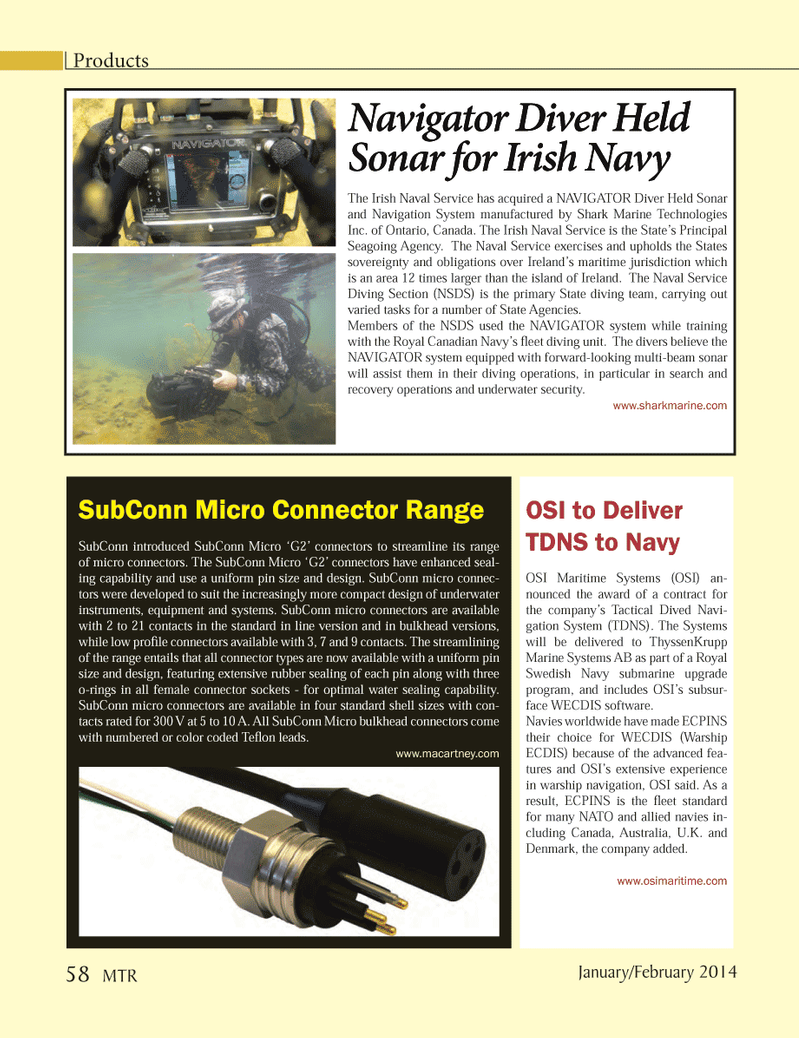 Marine Technology Magazine, page 58,  Jan 2014 Royal Swedish Navy