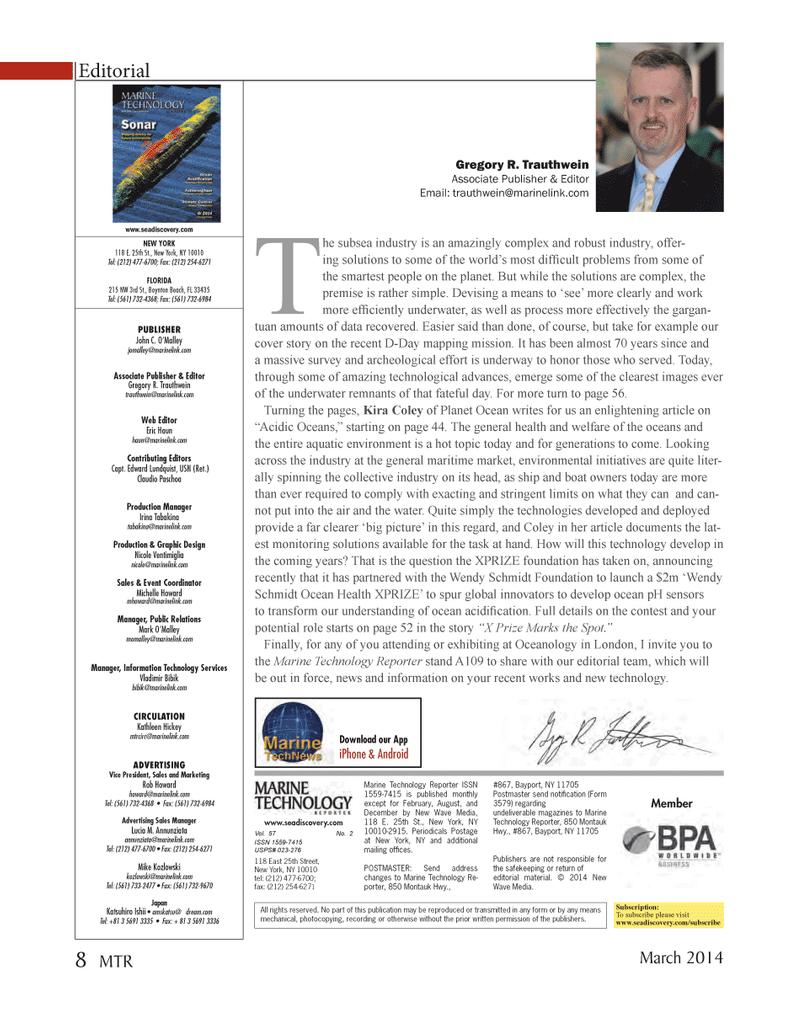 Marine Technology Magazine, page 8,  Mar 2014 Edward Lundquist