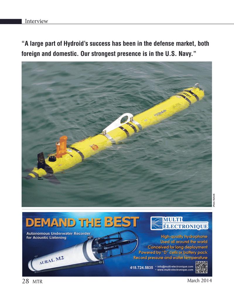 Marine Technology Magazine, page 28,  Mar 2014 United States Navy