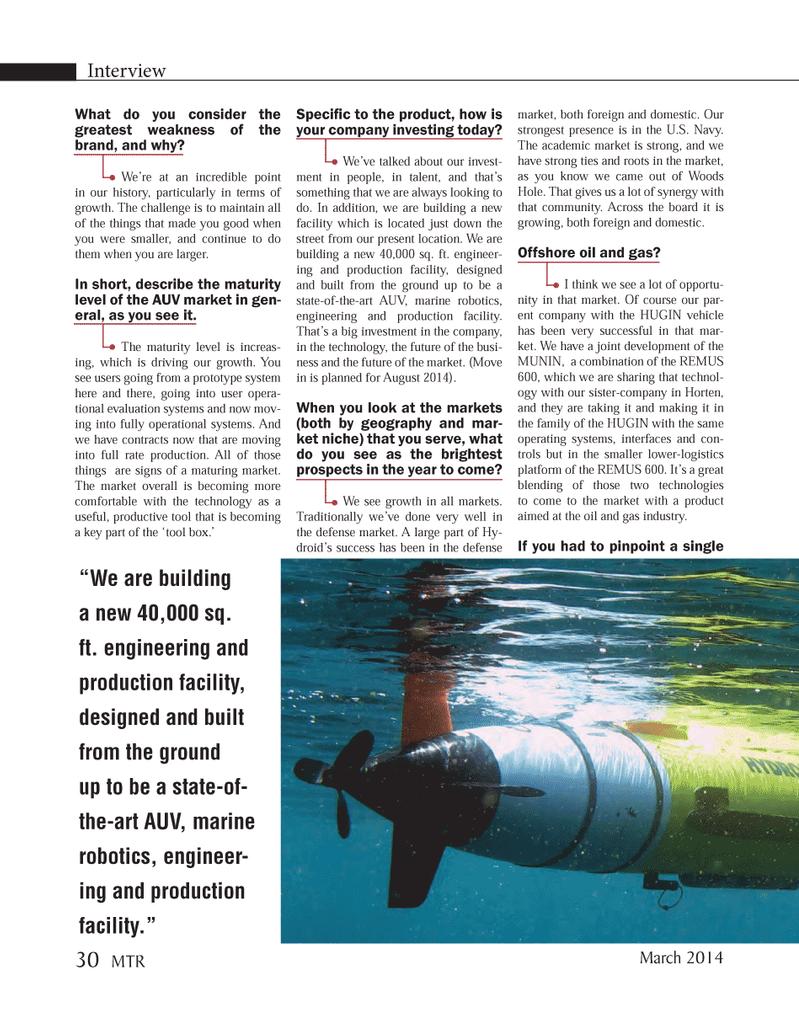 Marine Technology Magazine, page 30,  Mar 2014 Woods Hole