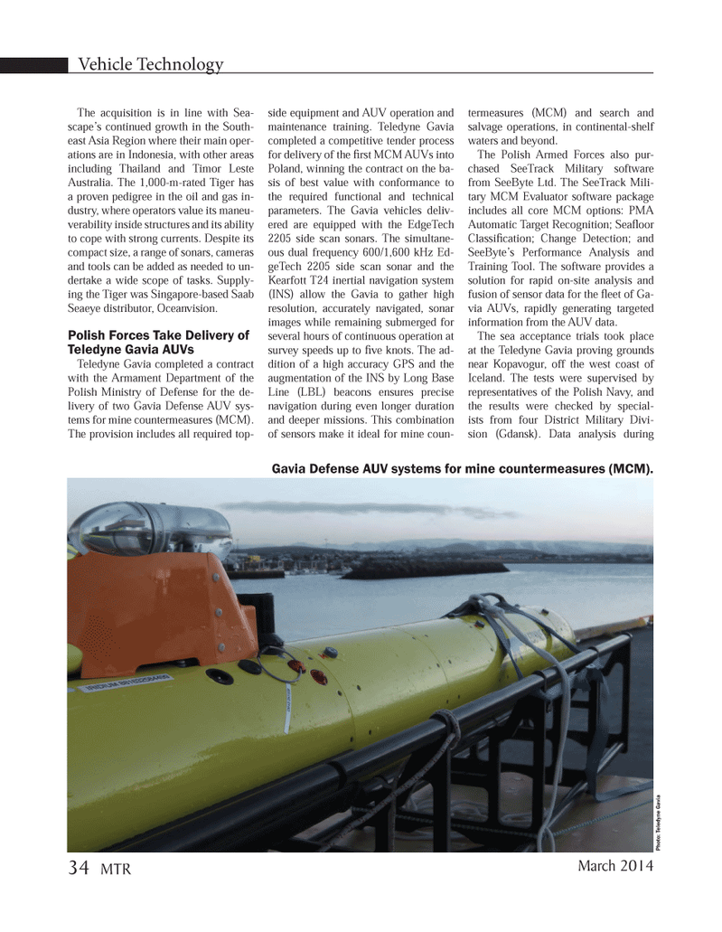 Marine Technology Magazine, page 34,  Mar 2014 Armament Department
