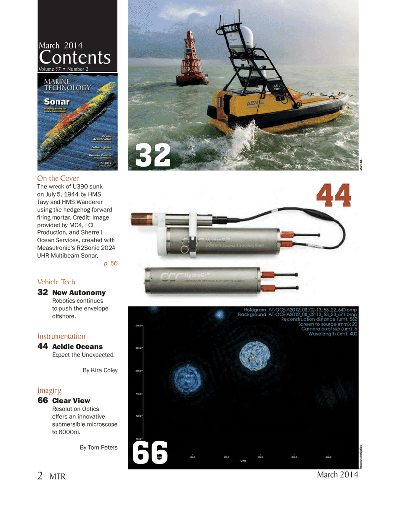 Marine Technology Magazine, page 2,  Mar 2014 Sherrell Ocean Services