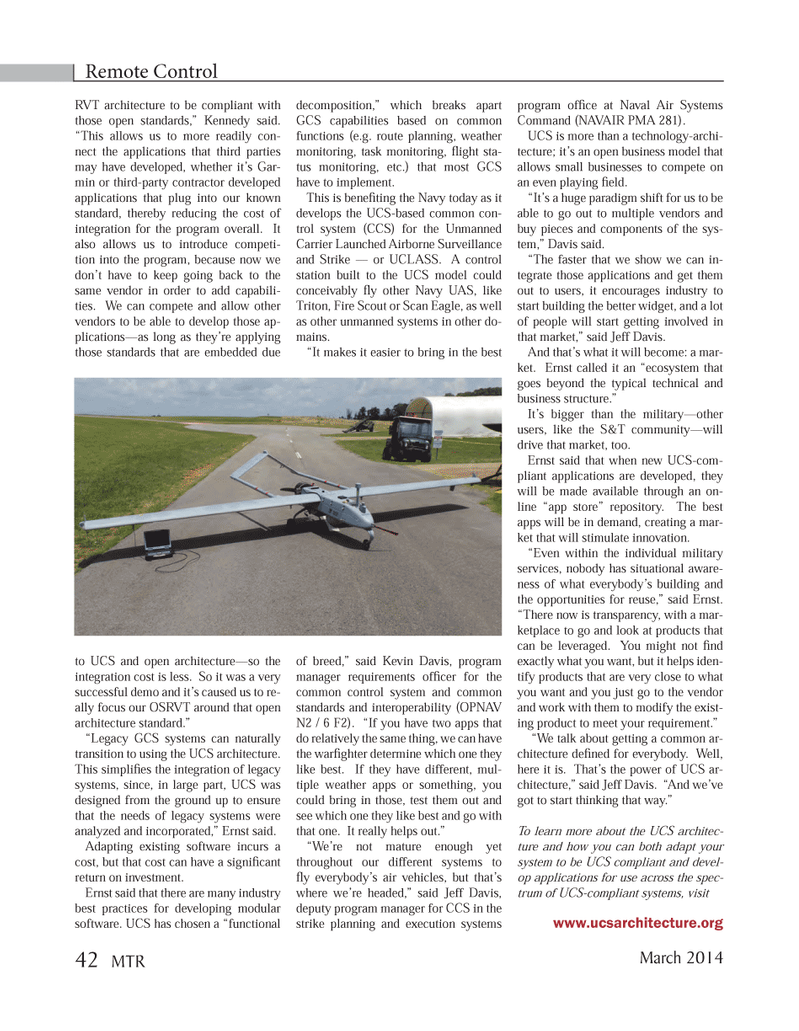Marine Technology Magazine, page 42,  Mar 2014 individual military services