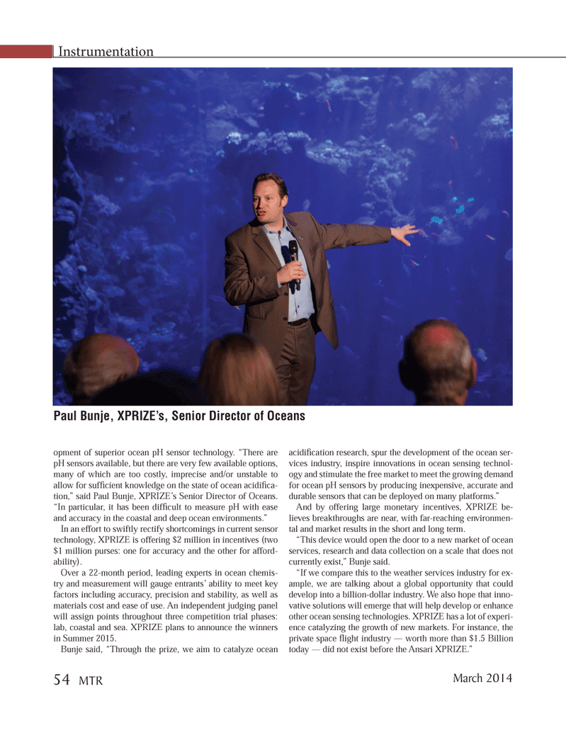 Marine Technology Magazine, page 54,  Mar 2014 ocean sensing technologies