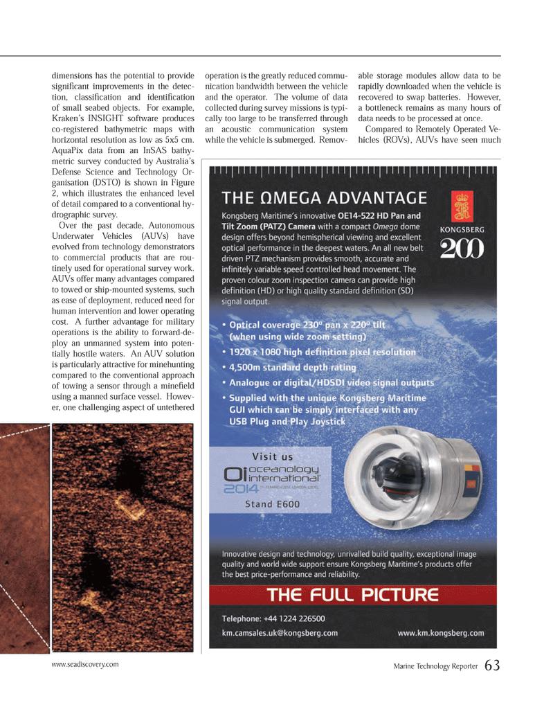 Marine Technology Magazine, page 63,  Mar 2014 AUVs