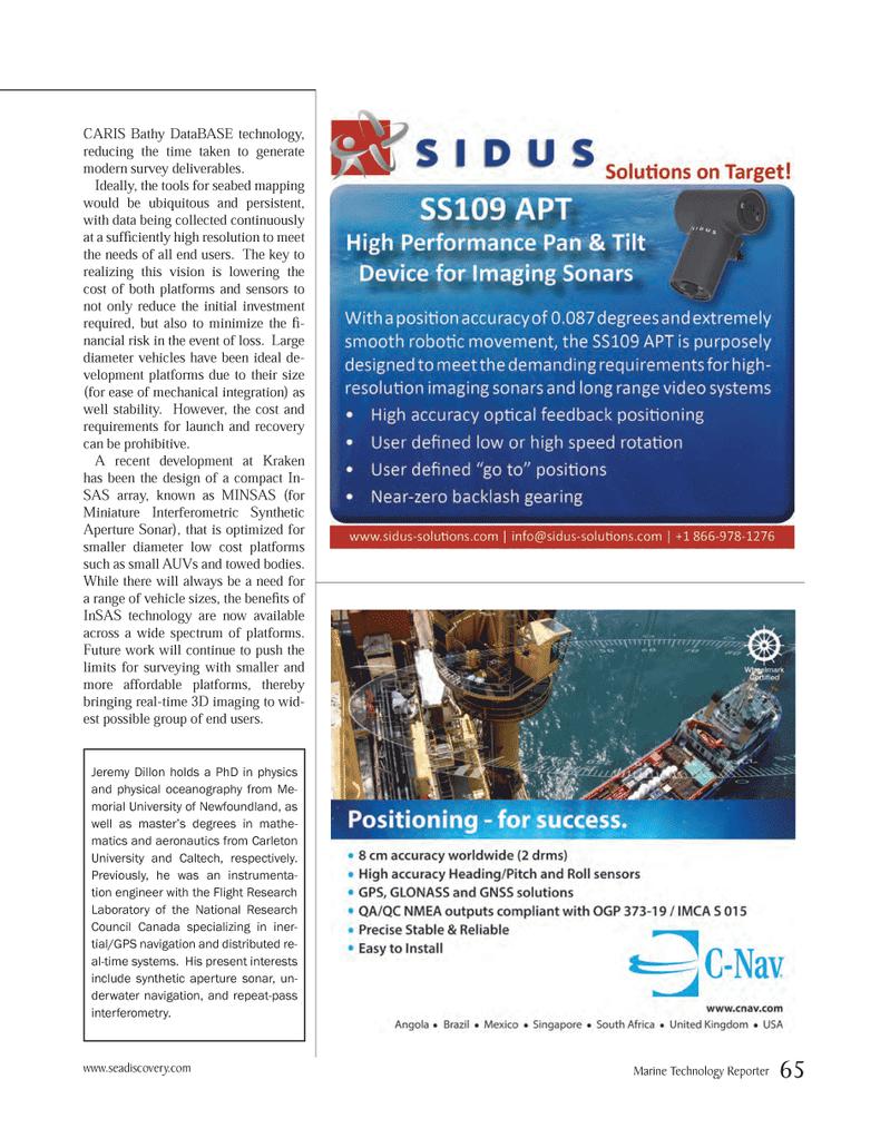 Marine Technology Magazine, page 65,  Mar 2014 InSAS technology