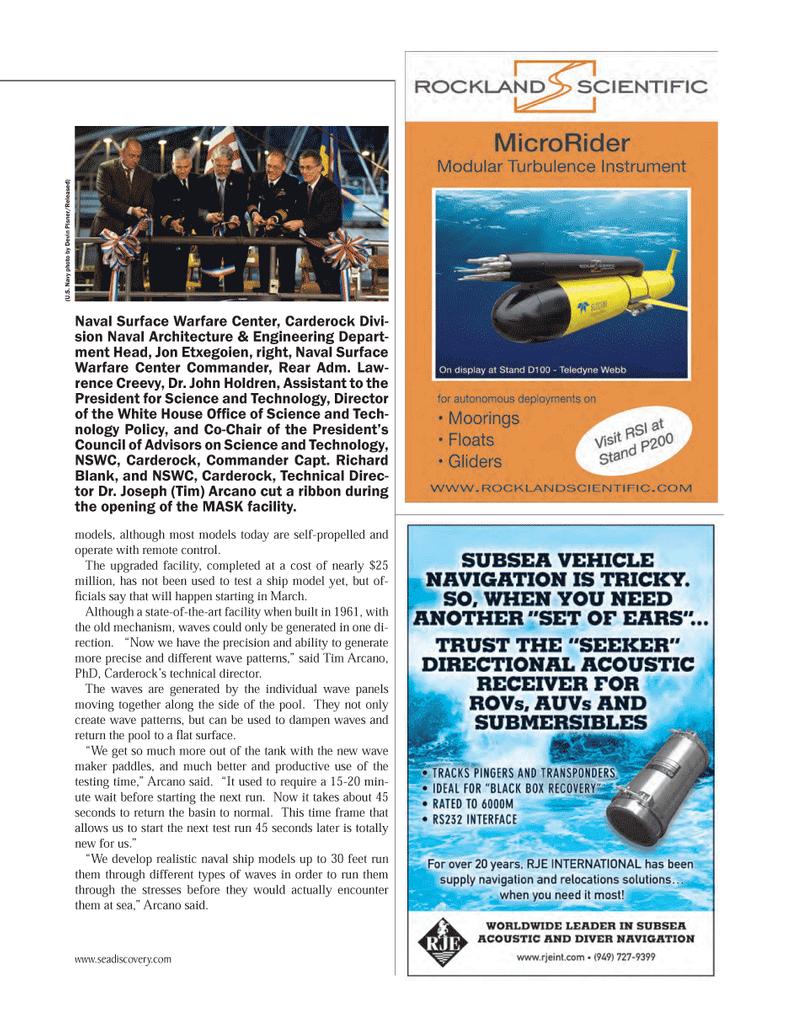 Marine Technology Magazine, page 73,  Mar 2014 John Holdren