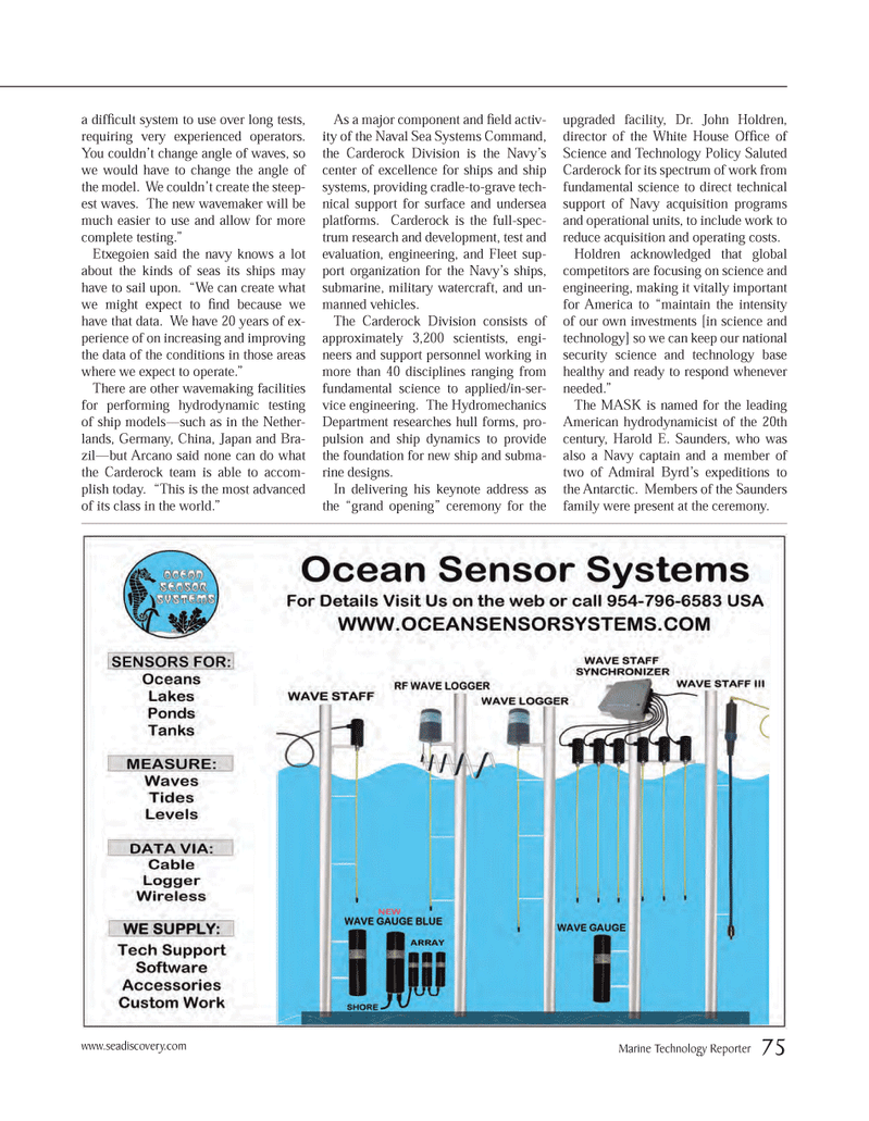 Marine Technology Magazine, page 75,  Mar 2014 White House