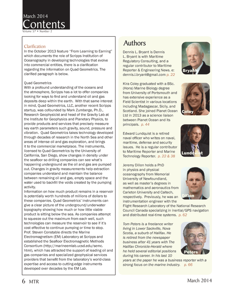 Marine Technology Magazine, page 6,  Mar 2014 The Halifax Chronicle-Herald