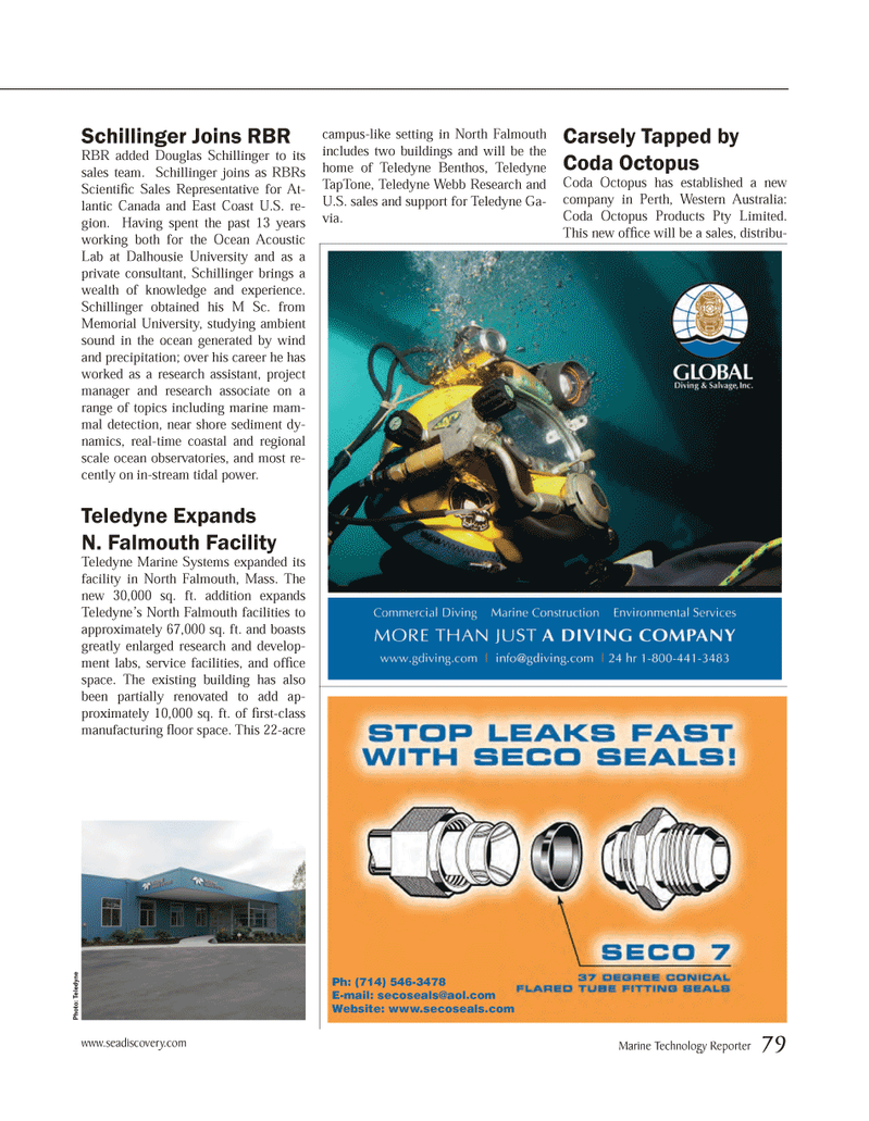 Marine Technology Magazine, page 79,  Mar 2014 Ocean Acoustic Lab