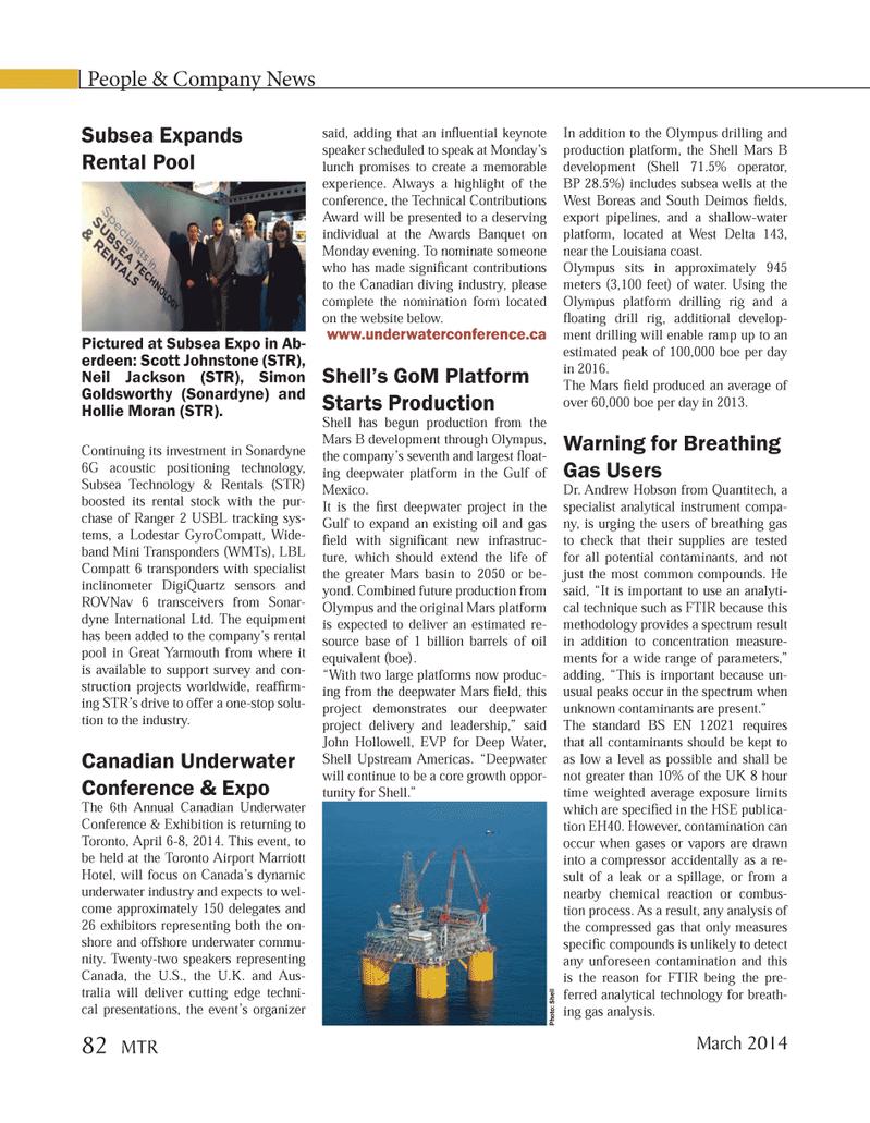 Marine Technology Magazine, page 82,  Mar 2014 Gulf of Mexico