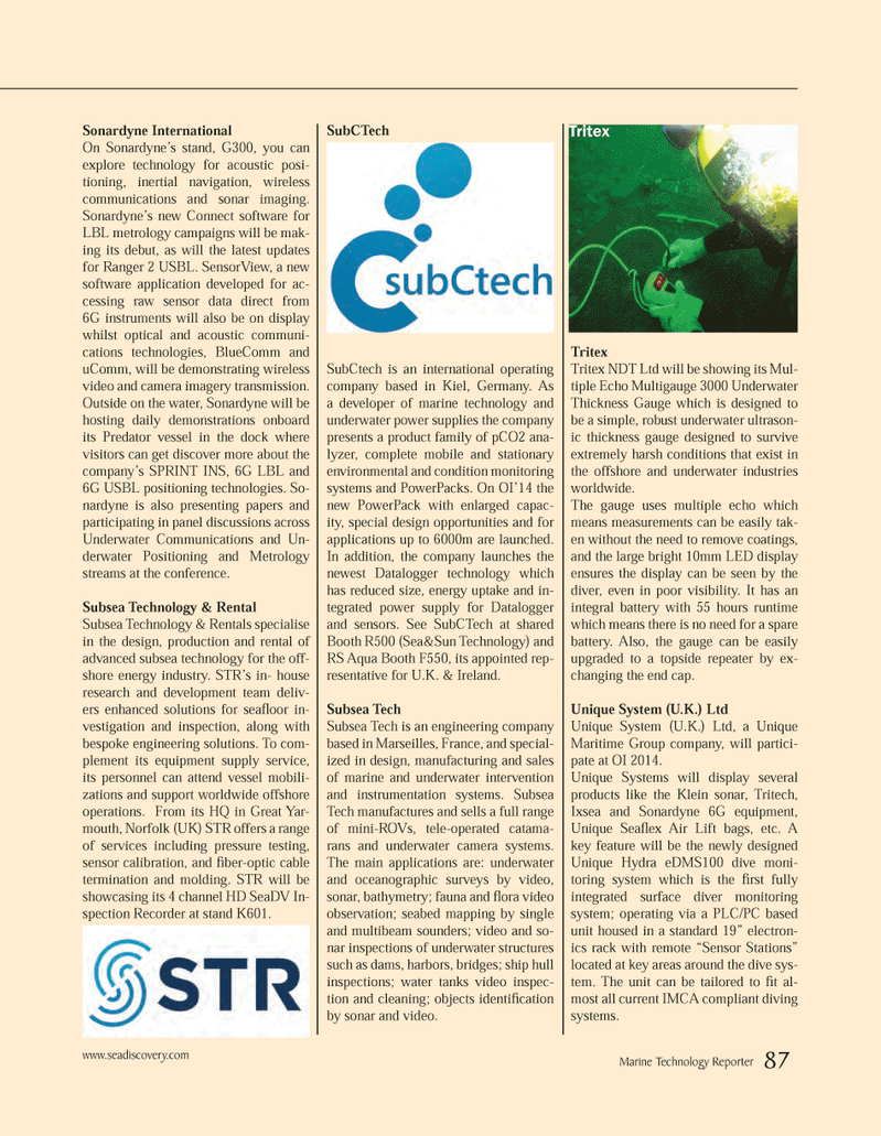 Marine Technology Magazine, page 87,  Mar 2014 Datalogger technology
