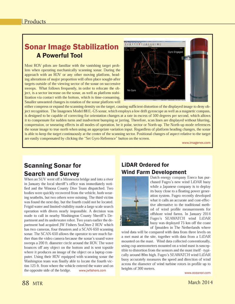 Marine Technology Magazine, page 88,  Mar 2014 large scale search operation