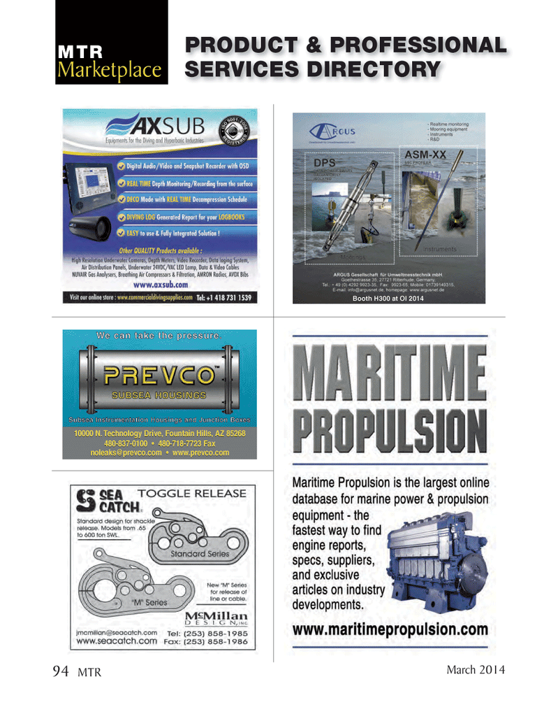 Marine Technology Magazine, page 94,  Mar 2014 Arizona