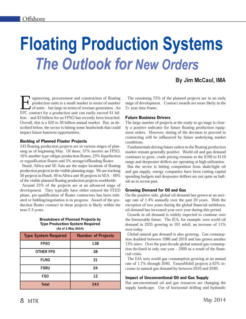 Marine Technology Magazine, page 8,  May 2014 oil and gas supply