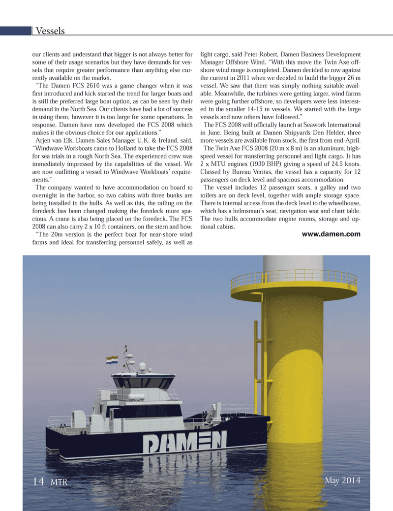 Marine Technology Magazine, page 14,  May 2014 Offshore Wind