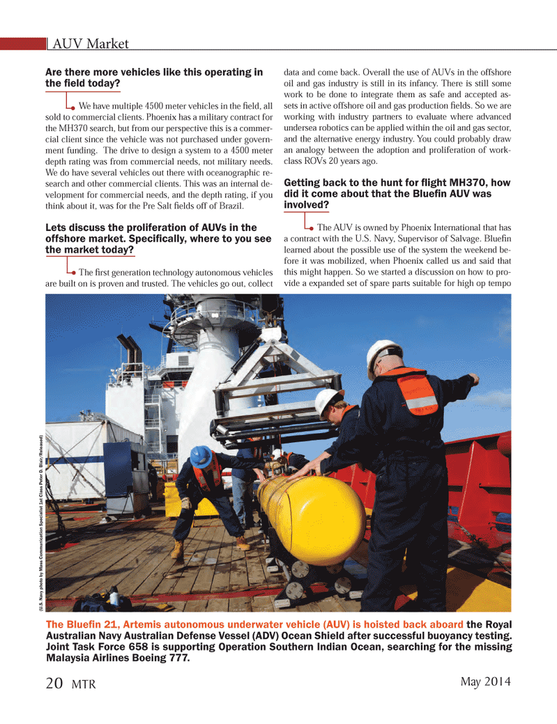 Marine Technology Magazine, page 20,  May 2014 Peter D. Blair