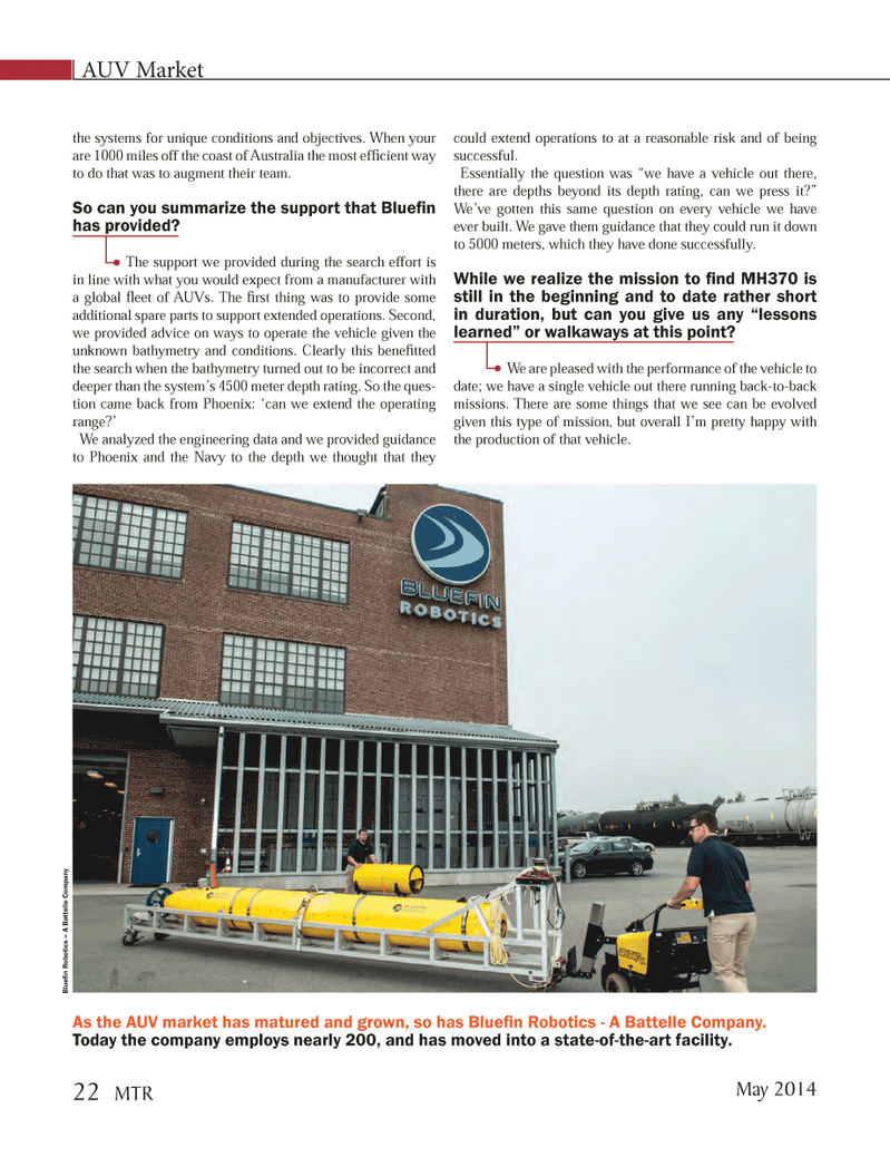 Marine Technology Magazine, page 22,  May 2014 Australia