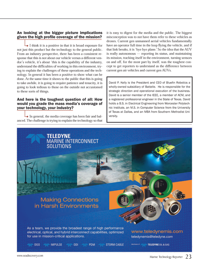 Marine Technology Magazine, page 23,  May 2014 IEEE