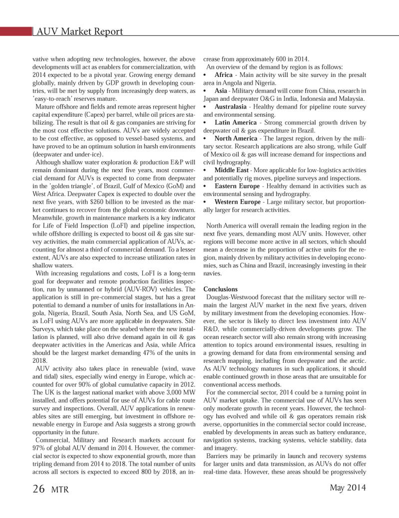 Marine Technology Magazine, page 26,  May 2014 Australasia