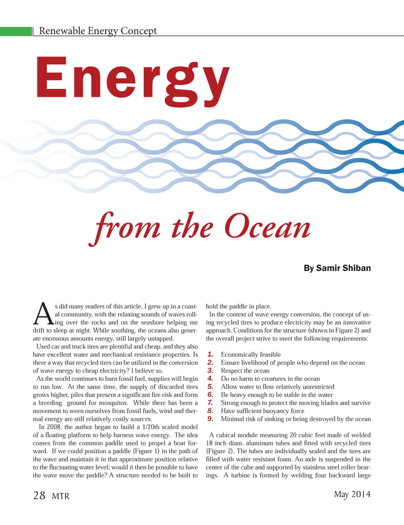 Marine Technology Magazine, page 28,  May 2014 mal energy