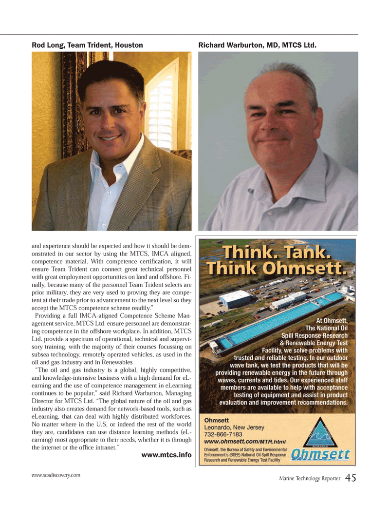 Marine Technology Magazine, page 45,  May 2014 Houston Richard Warburton