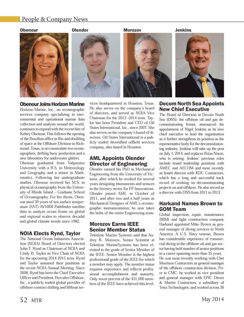 Marine Technology Magazine, page 52,  May 2014 Chet Morrison