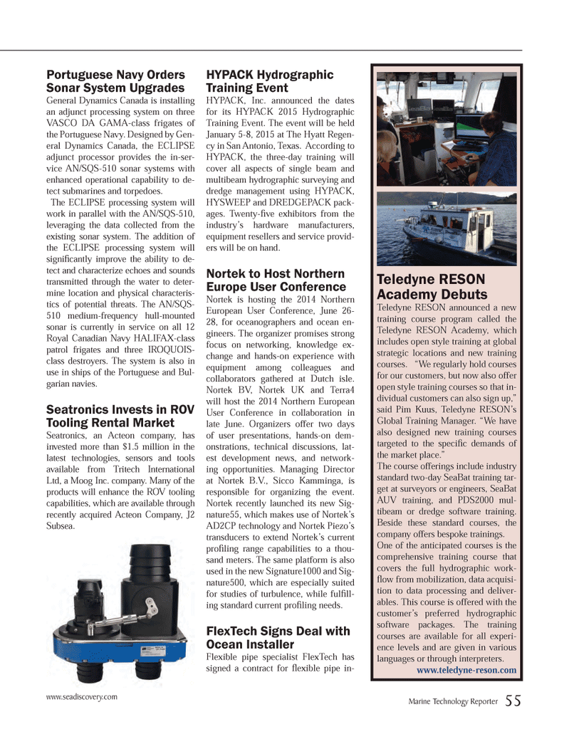 Marine Technology Magazine, page 55,  May 2014 Northern Europe