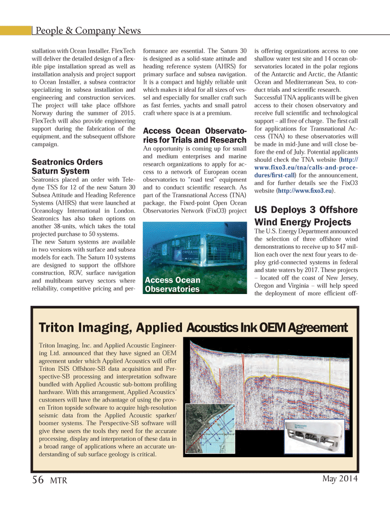 Marine Technology Magazine, page 56,  May 2014