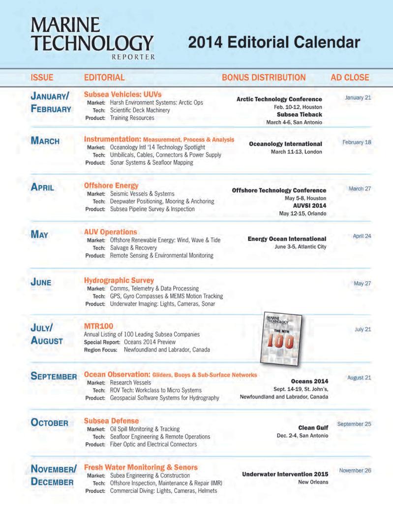 Marine Technology Magazine, page 64,  May 2014