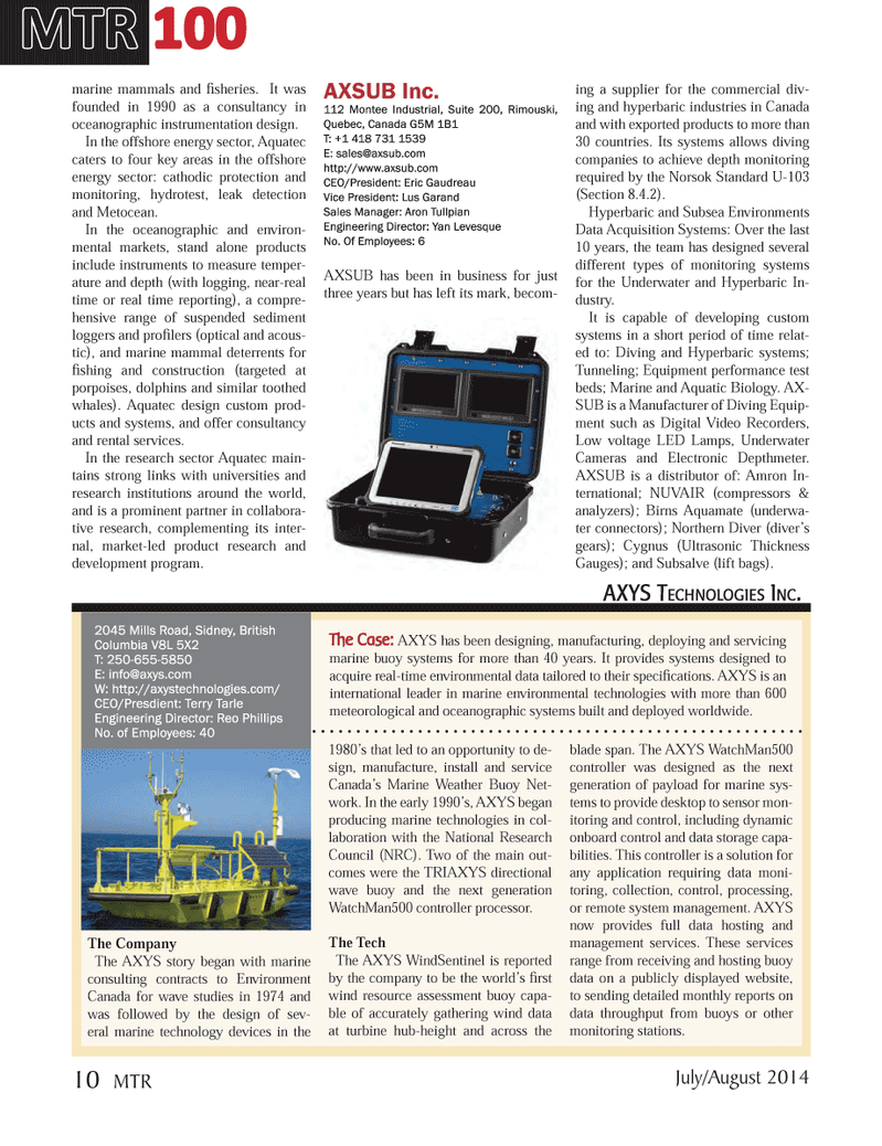 Marine Technology Magazine, page 10,  Jul 2014