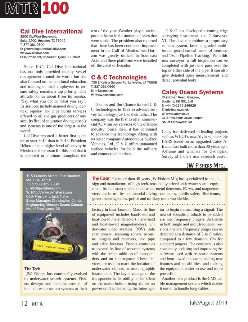 Marine Technology Magazine, page 12,  Jul 2014