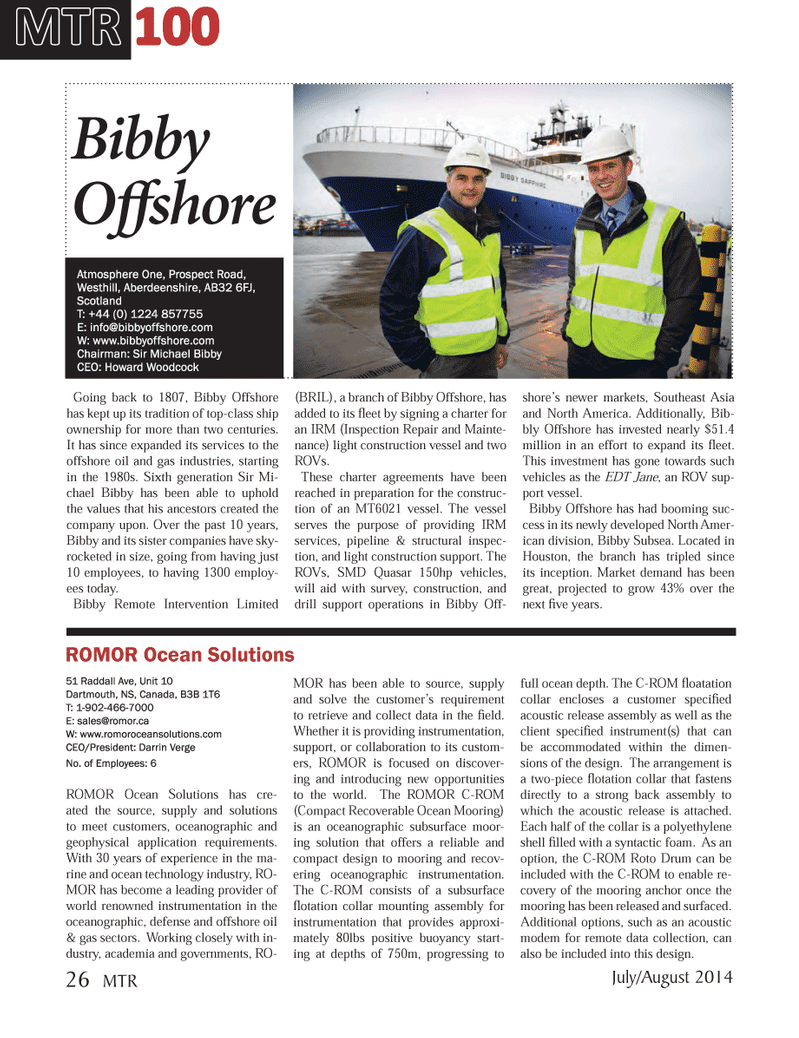 Marine Technology Magazine, page 26,  Jul 2014