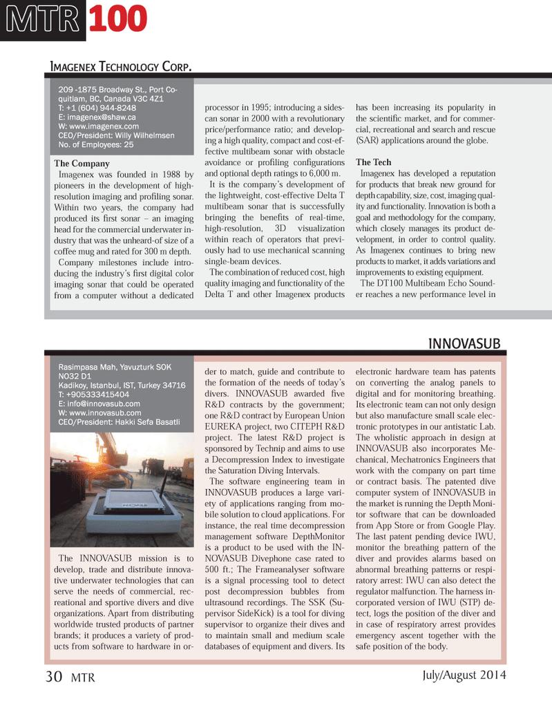 Marine Technology Magazine, page 30,  Jul 2014