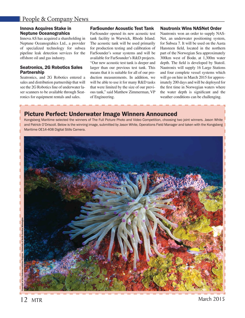 Marine Technology Magazine, page 12,  Mar 2015