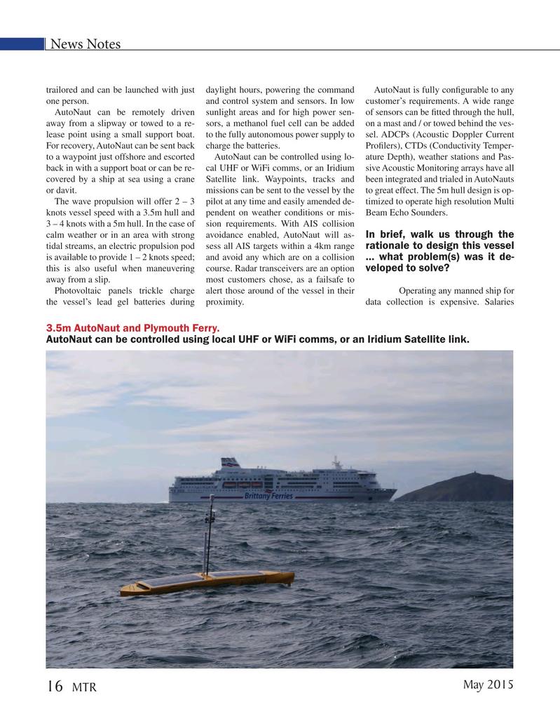 Marine Technology Magazine, page 16,  May 2015