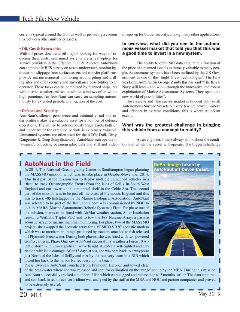 Marine Technology Magazine, page 20,  May 2015