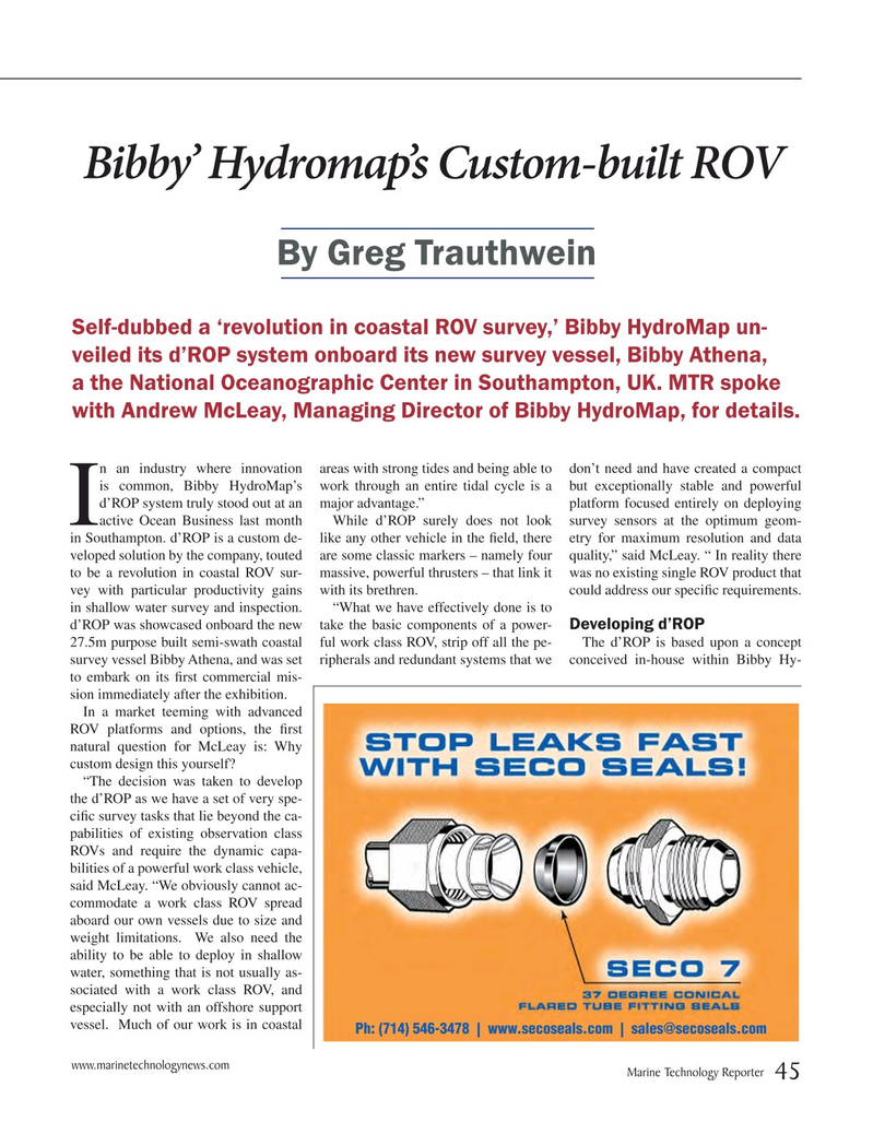 Marine Technology Magazine, page 45,  May 2015